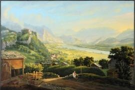 Verheerender Rheinbruch oberhalb von Vaduz